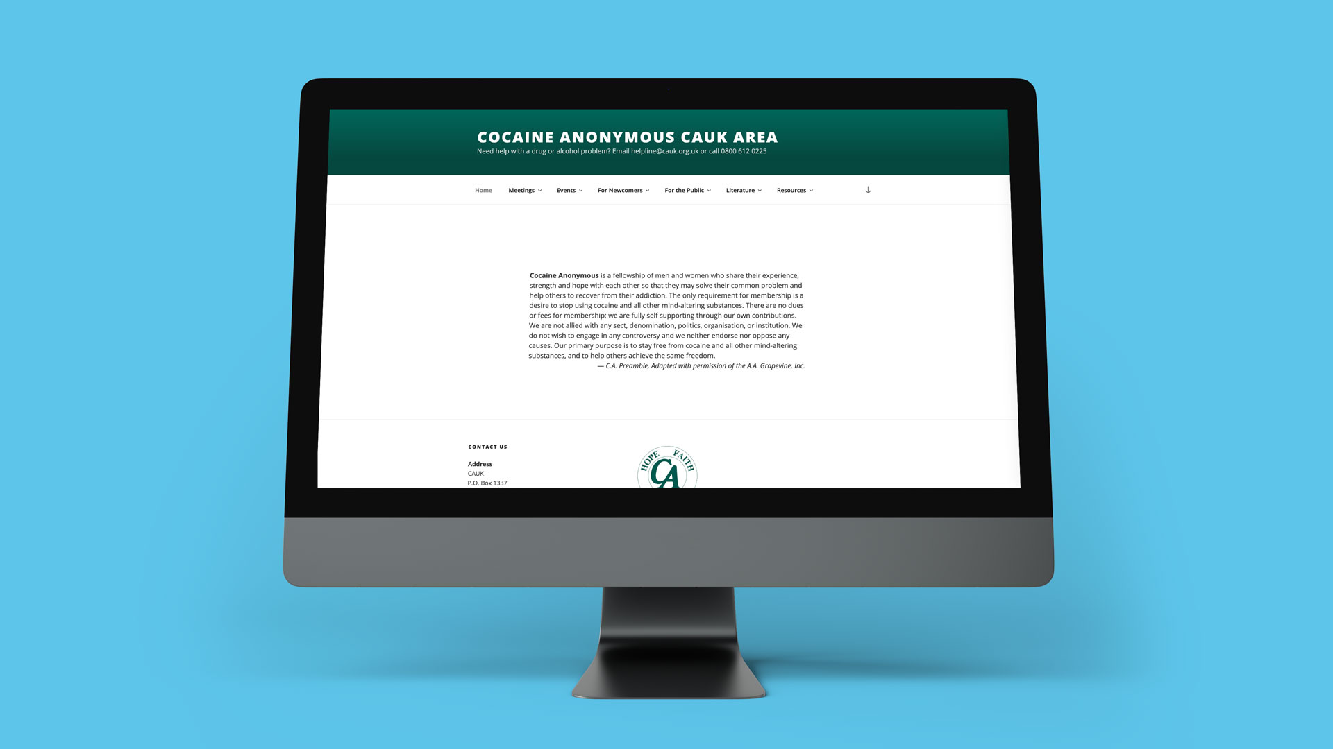 cociane anonymous website preview