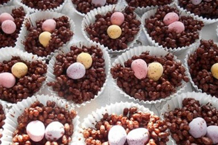 a photo of easter egg nest cakes