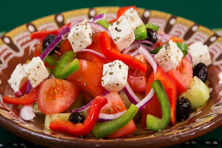 A photo of a greek salad